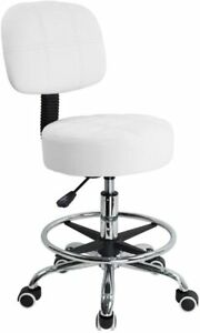 Heavy Duty Swivel Stool Leather Task Work Drafting Office Chair Armless Footrest