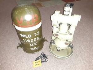 Wild Heerbrugg T2 Theodolite Us Army 1962 Mils Auto Collimation Telescope