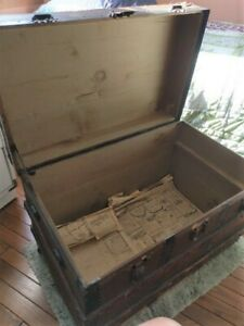 Flat Top Steamer Trunk Antique Vintage