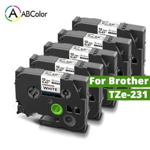5 Pk Tz 231 Tze 231 Pt d210 Compatible Label Maker Tape 12mm For Brother P touch