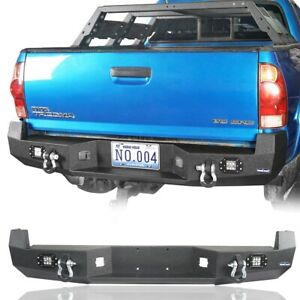 Offroad Rear Bumper W License Plate Mount Point d ring For Toyota Tacoma 05 15