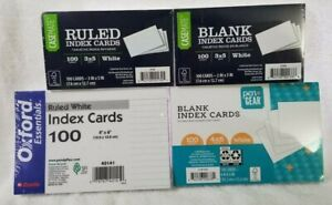 4 Pack 400 Count White Blank Index Card Lot