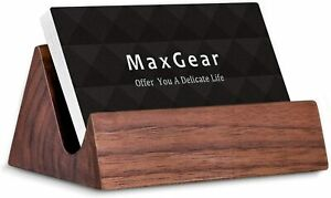 Wood Business Card Holder Wooden Name Card Desk Stand Walnut 3 8x2 6x1 8 Inch