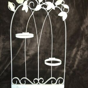 Scrolled Leaves Wrought Iron Victorian Garden Panel W Plant Holders Wall Decor