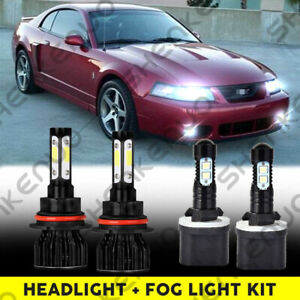 6000k Led Headlight Hi lo fog Light Bulb For Ford Mustang Gt Svt Cobra 1999 2003