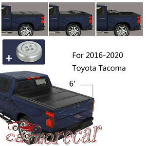 Tri Fold Hard Tonneau Cover 6 Ft Bed For Toyota Tacoma 2016 2020 Vinyl Truck