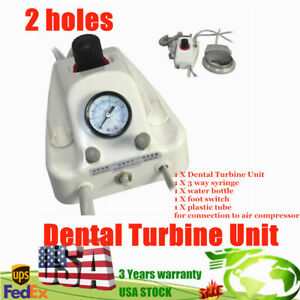 Portable Dental Turbine Unit 2 Holes For Compressor 3 Water Syringe Handpiece 2h