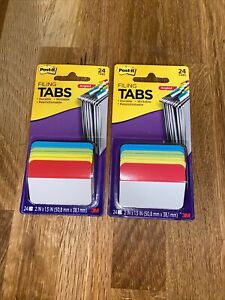 2 Packs Post it Angled Tabs 2 X 11 2 Solid Aqua lime red yellow 24 pack 686aalyr