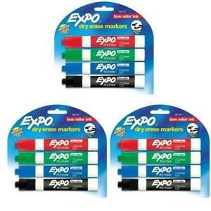 3 Lot Expo Dry Erase Markers 4 Pk Black Multi Color Chisel Tip Mix Office School