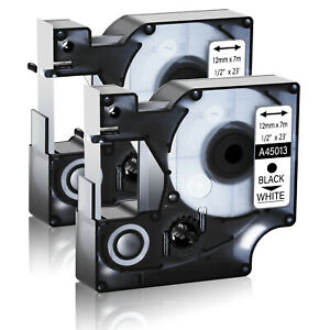 2 Pack Black On White Standard Label Tape For Dymo D1 45013 Labelmanager 280 300