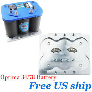 Aluminum Optima 34 78 Battery Tray Hold Down Bracket Relocation Red Yellow Top