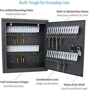 Wall Key Cabinet Storage Security Safe Lock Box Steel 60 Key Slot Large Capacity