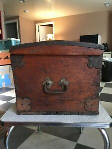 1860 S Primitive Antique Chest Trunk Hand Forged Beautiful