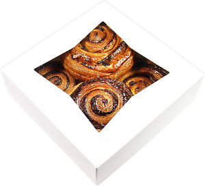 White Bakery Boxes W Window 8x8x2 5 25 Pack For Cookie Cake Donut Pastry