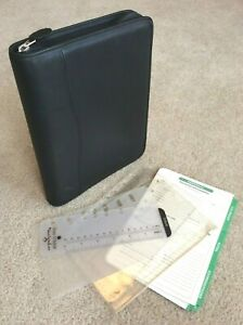 Classic desk 1 Day Timer Blk Leather Zip Planner Binder Franklin Covey Extras