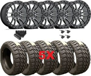 Fuel Rebel Anthracite Gray Wheels Rims Tires 35 12 50 18 Mud Mt Package 5