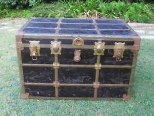 Antique Flat Top Steamer Trunk Vintage Treasure Storage Toy Chest Movie Prop
