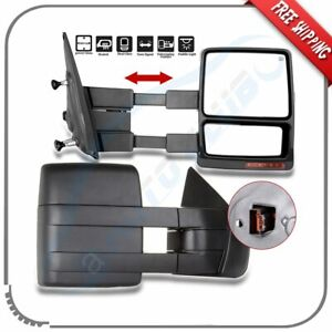 For 2007 14 Ford F 150 Power Heated Puddle Turn Signal Side Towing Mirrors Pair