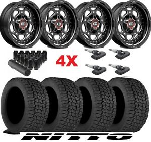 20 Xd Black Wheels Rims Tires 265 50 20 Nitto At G2 Package Fuel