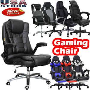 Pu Leather High Back Office Chair Gaming Executive Task Ergonomic Computer Desk
