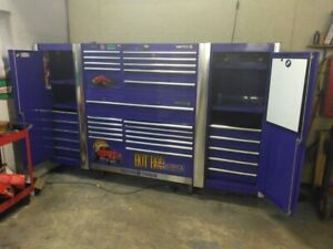 Matco 4 Piece Tool Box Set Up Red Willys Painted Graphics On A Purple Cabinet