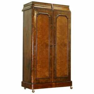 Stunning Victorian Collinge S Burr Walnut Double Wardrobe With Drawers Cupboard