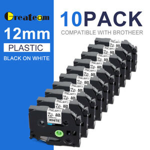 10 pk pack Tze231 Tz231 Black white Label Tape For Brother P touch Pt d210 12mm
