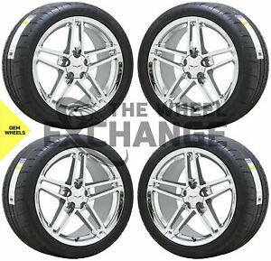 18x9 5 19x12 Corvette Z06 Chrome Wheels Rims Tires Factory Oem Set 4 5090 5107