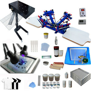 Techtongda 4 Color 2 Station Screen Printing Full Starter Kit T shirt Printer