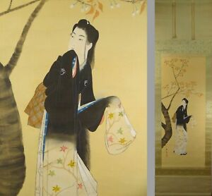 Uk707 Bijinga Beautiful Women Kimono Hanging Scroll Japanese Painting Picture