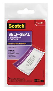 Scotch Self sealing Laminating Pouch 2 3 4 X 4 1 2 Inches Clear Pack Of 5