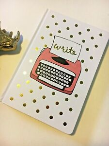 Gold Polka Dot Pink Typewriter Notebook Journal Blank Lined Pages Hardcover