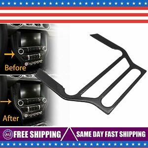 Carbon Fiber Interior Cd Panel Decor Cover Trim For Ford Mustang 2015 2019
