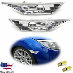 For 2016 2020 Honda Civic Clear Side Marker Lamp Turn Signal Light W Led Bulbs