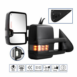 Towing Mirrors For 1999 2000 2001 2002 Chevy Power Heated Smoke Led Signal Light