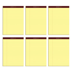 Tops Docket Gold Premium Writing Pad Legal Ruled Canary 6 pk