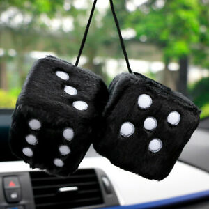 Car Pendant Fuzzy Plush Dice Craps Rear View Mirror Vehicle Hanging Decoration