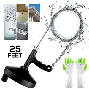 Plumbing Snake Sink 25 Ft Drain Auger Pipe Tool For Cleaning Clogged Kitchen