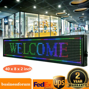 Led Sign 40 8 Inch Scroll Message Board 7 Color Programmable Scrolling Usa Stock