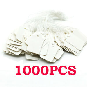 1000 Pieces White Tags With String Marking Strung Tags Writable Tags Display