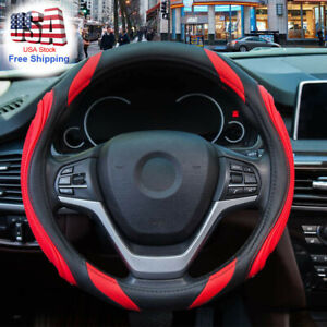 Red Car Steering Wheel Cover Sports Non Slip Leather Pu 14 5 15in Breathable