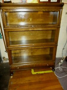 Antique Oak Bookcase Macey Stacking Barrister Claw Feet 1900 S Refinished