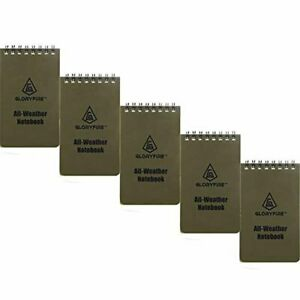 Gloryfire Waterproof Notebook All Weather Pocket Tactical Notepad 3 x5 5pc Set