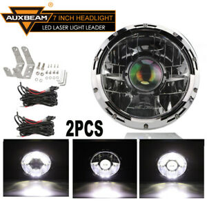 2pcs 7 Inch Round Laser Led Headlight Work Light Lamp Spot Driving Head Lamps
