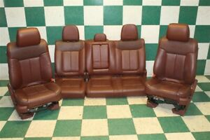 11 14 F150 Crew King Ranch Leather Heated Cooled Brown Power Seat Backseat Set