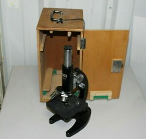 Vintage Boreal School Monocular Mirrored Microscope No 606 With Locking Case