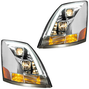Grand General Volvo Vn Vnl Chrome Projector Headlights Sold In Pairs W White Led