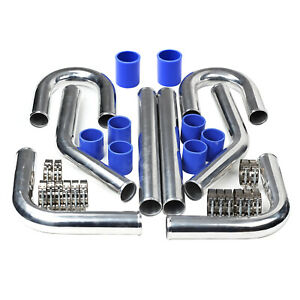 63mm 2 5 Polished Turbo Aluminum Intercooler Pipe Kit Diy Kit Blue Universal