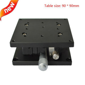 Z Axis Linear Stage Double Cross Rail Guide Platform Manual Sliding Table 90mm
