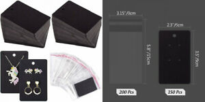 Whaline 150 Pcs Necklace Earring Display Card With 200 Self seal Bags Black